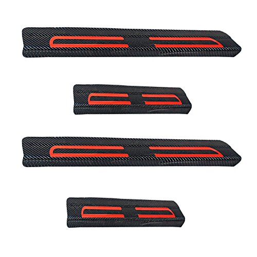 Universal Door Sill Protector - Universal Vinyl Door Sill Protectors Fit All Cars Red 4pcs