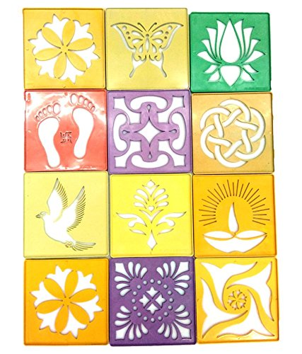 Rangoli Stencil Heavy Duty Plastic, size 4 x 4 Inch, pack of 12 pcs