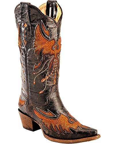 CORRAL Women's Distressed Eagle Inlay Orange Rhinestone Cowgirl Boot Snip Toe Black 8.5 M (Leather Inlay Cowgirl Boots)