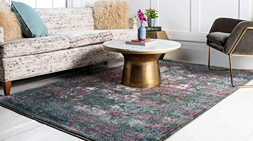 Unique Loom Aurora Collection Floral Vintage Over-Dyed Gray Area Rug 6 0 x 9 0