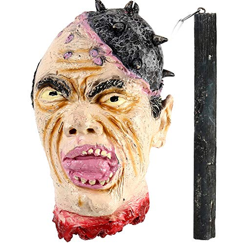 Severed Prop Head Halloween - BullStar Halloween Decorations Severed Head Hanging Halloween Props Bloody Cut Off Corpse Head Latex Zombie Party Supplies (B)
