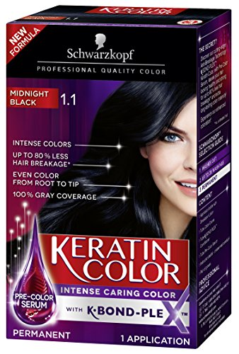 (Schwarzkopf Keratin Color Permanent Hair Color Cream, 1.1 Midnight Black (Packaging May Vary))