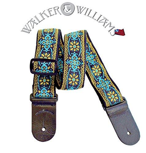 Walker & Williams H-01 Blue Woodstock Woven 60's Style Hootenany Hippie Guitar Strap