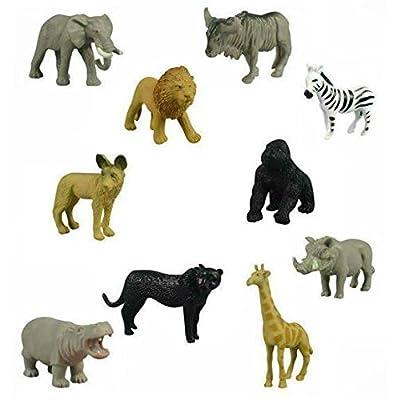 fb 20 Small Safari Animals Jackal Giraffe Elephant Antelope GNU Zebra Panther Warthog Lion Gorilla Hippopotamus Rhinoceros Wildlife Zoo Set of Wild African Figure Plastic Playset Toys: Toys & Games