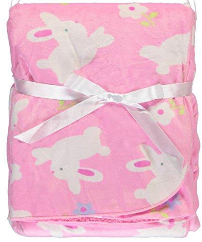 Honey Baby Plush Ultra Soft Coral Fleece Baby Blanket, 30 X