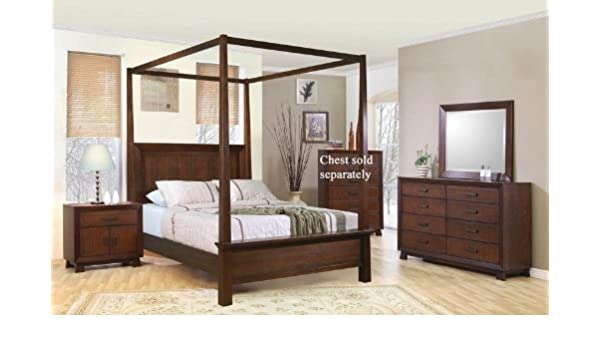 Amazon Com 4pc Queen Size Canopy Bedroom Set In Brown Finish