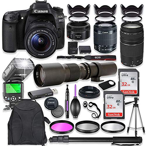 Canon EOS 80D DSLR Camera with 18-55mm Lens Bundle + Canon EF 75-300mm III Lens, Canon 50mm f/1.8 & 500mm Lens + TTL Flash + Canon Backpack + 64GB Memory + Monopod + Professional Bundle ...