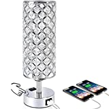 Touch Control Crystal Table Desk Lamp with Dual Fast Quick USB Charging Ports and AC Outlet, Acaxin 3-Way Dimmable Accent Beside Light with Bulb, Nightstand Lamps for Bedroom, Living Room,Guest Room