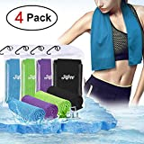 Infree 4 Pack Cooling Towel 40x12 Inches, Ice Towel, Soft Breathable Chilly Towel, Microfiber Towel for Yoga, Sport, Running, Gym, Workout,Camping, Fitness, Workout & More Activities