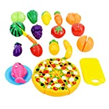 Toy Food, Finer Shop 24Pcs Plastic Fruit Vegetable Kitchen Pretend Play Food Cutting Toy Set Kids Toys