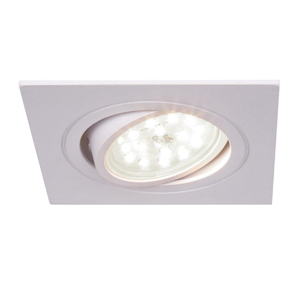 1er Set 4000K LED-Einbaustrahler eckig   Einbauleuchte weiß eckig 10er Set   Einbauspot schwenkbar 3fach dimmbar   Decken-Einbaustrahler 4000K   Einbaulampen modern   Deckenspot Switchmo + LED-Leuchtmittel