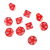 Pack of 10pcs Ten Sided Dice D10 Playing Dungeons & Dragons D&D TRPG Board Game Red