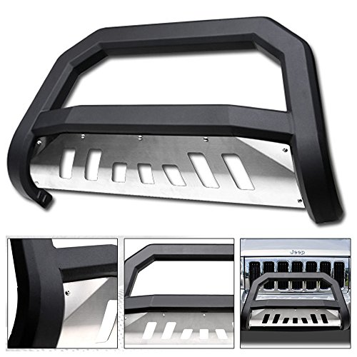 - VXMOTOR 2005-2007 Jeep Grand Cherokee ; 2006-2010 Jeep Commander Matte Black AVT Style Edge Bold Bull Bar Brush Push Front Bumper Grill Grille Guard with SS Aluminum Skid Plate