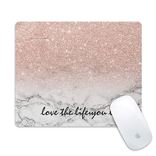 Galdas Gaming Mouse Pad Pink Marble Design Mousepad Non Slip Rubber Mouse Mat Rectangle Quote Inspirational Mouse Pads for Computers Laptop - Love The Life You Live