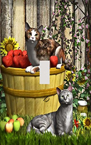 Cats in Apple Basket Switchplate - Switch Plate Cover
