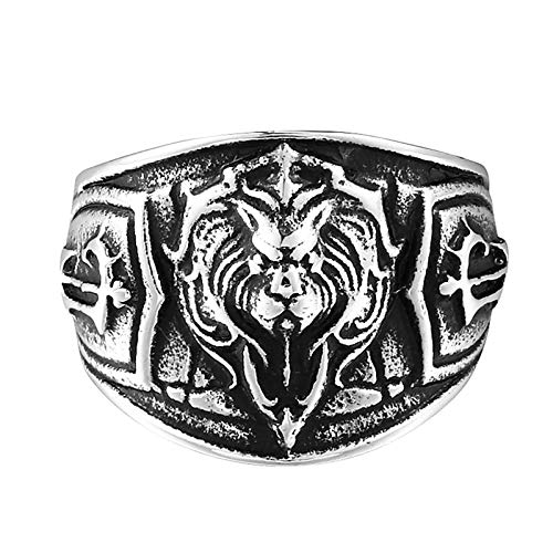 (EoCot 25MM Mens Stainless Steel Ring Lion Tribe Badge Black Silver Gothic Men's Ring Size 9 )