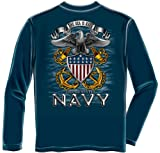 US Navy Long Sleeve T-Shirts, 100% Cotton Casual Men's Shirts, Show Your Navy Pride with Our The Sea is Ours Full Print Eagle Long Sleeve Shirts for Men or Women (Large)