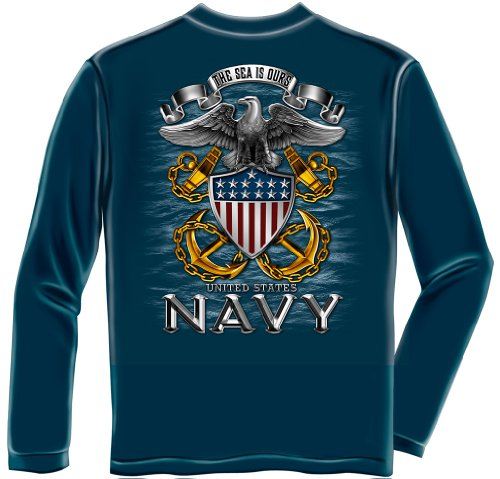 US Navy Long Sleeve T-Shirts, 100% Cotton Casual Men's Shirts, Show Your Navy Pride With Our The Sea Is Ours Full Print Eagle Long Sleeve Shirts for Men or Women (X-Large) (Us Navy Mom Sweatshirt)