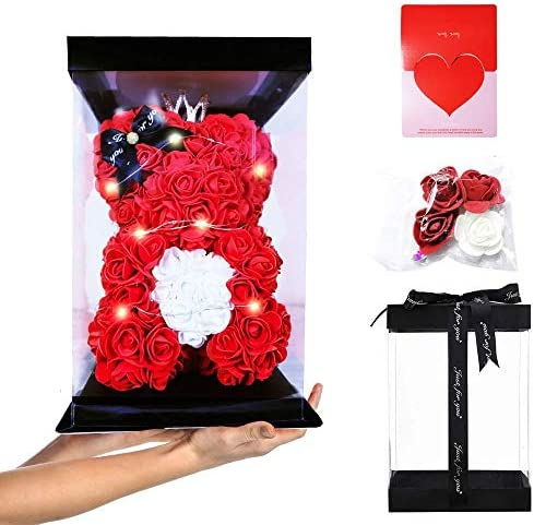 "ABOUND LIFESTYLE Luxury Rose Teddy Bear in a Gift Box - Made of Artificial Foam Rose (10"" Red Flower Bear +Decorative Light+Fully Assembled Gift Box+Card)"