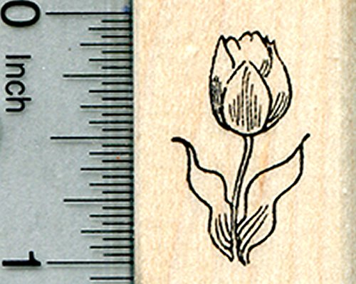 Tulip Flower Rubber Stamp, Summer Floral Series, Small (Series Tulip)