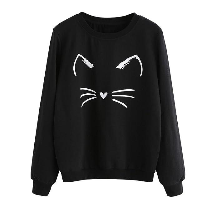 Sudaderas de Manga larga, Holacha Hoodie Blusa de Gatos Casual Moda Otoño Invierno para Mujeres
