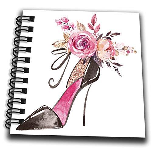 3dRose Anne Marie Baugh - Illustrations - Pretty Floral High Heel Shoe Illustration - Mini Notepad 4 x 4 inch - Heel Notepad High