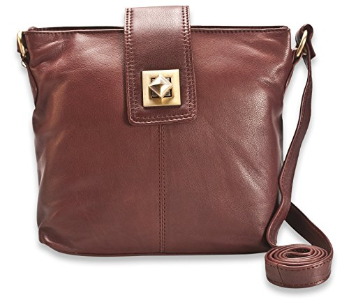 300 With Buckle Genuine 114 Design Brunhide Brown Womens Soft Handbag Leather OzqnFBx1