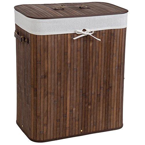 TecTake Robuster 100L Bambus Wäschekorb 53 x 33,5 x 63cm faltbar braun mit Deckel und herausnehmbarem Wäschesack