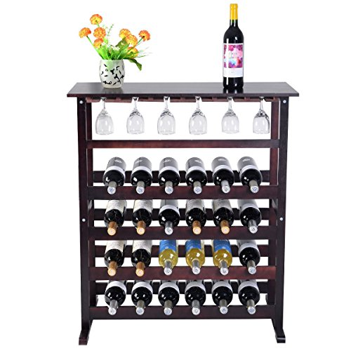 Modern Wood Wine Rack Holder That Holds 24 Bottles Storage Shelf Display w/ Glass Hanger Made With Pine Wood For Your - Ca Ontario Macy's