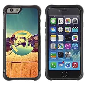 Híbridos estuche rígido plástico de protección con soporte para el Apple iPhone 6 (4.7) - desert abstract 3d teal art design nature