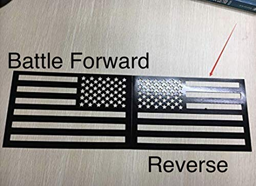WHITE RHINO American Flag Decal Magnet Cut-Out Truck Jeep Wrangler Decals 5.5 X 9 inches DEEP Black 2 Pack ()