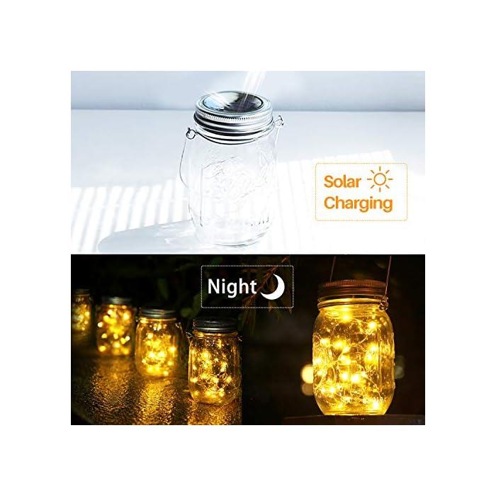 """51YD02Alp0L ✨【Tapas de Tarro Solar】Luces blancas cálidas constantes, luces de tarro mason son alimentadas por un módulo solar de alta potencia, 30 luces LED en cadena en el interior y se pueden recargar repetidamente. ✨【Ahorro de Energía con Energía Solar】Mientras que hay suficiente sol la luz del tarro de albañil solar se cargará completamente después de 4-6 horas y puede encenderse durante 8-10 horas. ✨【Sensor de Luz Inteligente】Como la luz del tarro de albañil incorporada con el sensor de luz, cambie el botón """"ON/OFF"""" a """"ON"""" mientras que el uso diario, durante la recarga solar del día, el ambiente nocturno u oscuro se enciende automáticamente."""
