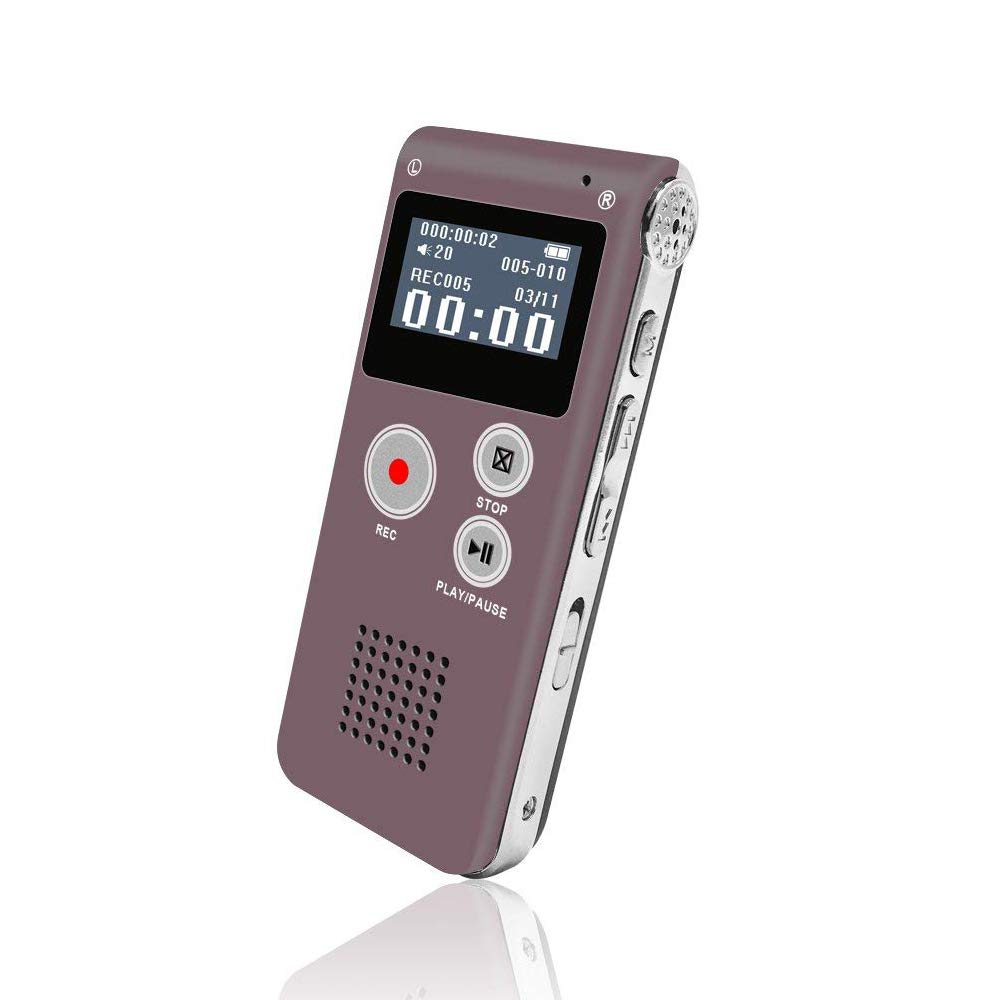 Digital Voice Recorder, Portable Recorder, Multifunctional Rechargeable Dictaphone, FlatLED Audio Voice Recorder Dictaphone, MP3 Music Player with Mini USB Port and Color LCD display, 8GB (Silver)