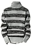 LOKOUO Fashion Mens Casual Stripe Knit High Neck Soft Warm Pullover Sweaters GreyUS X-Small
