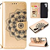 Cfrau Wallet Case with Black Stylus for Huawei P30 Pro,Retro 3D Henna Mandala Floral Embossed Magnetic Strap Flip PU Leather Card Slots Stand Soft Rubber Case for Huawei P30 Pro,Gold