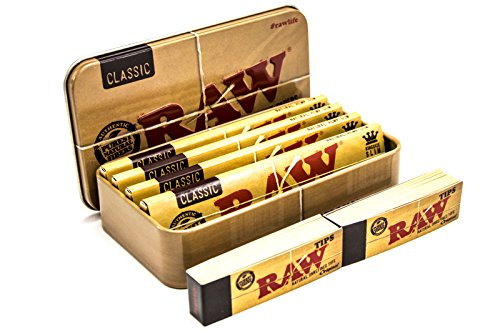 RAW Tobacco, Cigarette, Stash and Travel Tin with 4 Classic King Size...