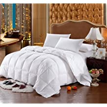 Luxury Bedding's King Size Luxurious 1200 Thread Count Siberian GOOSE DOWN Comforter, 100% Egyptian Cotton Cover, Damask Stripe White Color, 750 Fill Power, 50 Oz Fill Weight