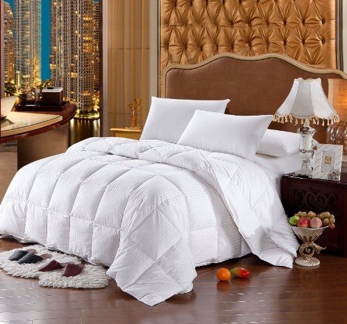 Luxury Bedding's Twin Extra Long (XL) Size Luxurious 1000 Thread Count Siberian GOOSE DOWN Comforter, 100% Egyptian Cotton Cover, Damask Stripe White Color, 750 Fill Power, 50 Oz Fill Weight Luxury Bedding Store