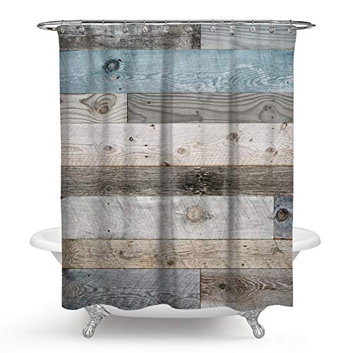 (QCWN Wooden Shower Curtain,Rustic Floor Planks Print Grungy Look Farm House Country Style Shower Curtain Set with Hooks for Bathroom Décor.Multi 70x70Inch)