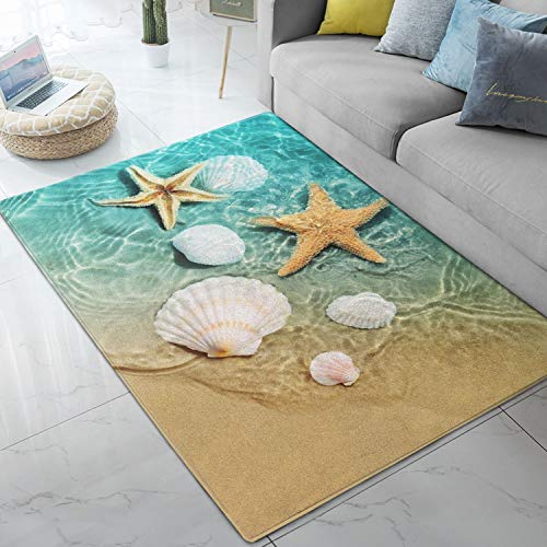 Area Rugs Starfish Scallop Ocean Beach Printed Large Floor Mat for Living Dining Dorm Playing Room Bedroom 5' x 7'
