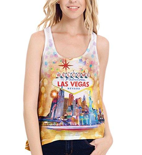 Ficus Sublimation Women Tank Top, Welcome to Las Vegas, Nevada Sleeveless T Shirt Souvenir (X-Large, White)