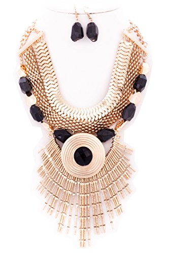 {CN01038 StyleNo1} WOMEN'S FASHIONABLE FLAT CHAIN W ROUND PENDANT N CASTING DROPS NECKLACE AND EARRINGS SET – Designed In USA
