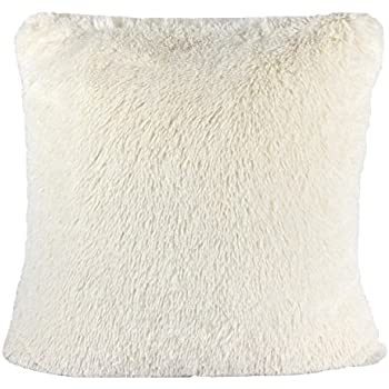 Homey Cozy Faux Fur Throw Pillow Cover,Ivory Double-Side Luxury Fluffy Super-Soft Plush Fur Decorative Couch Cushion Pillow Case 20 x 20 Inch, Cover Only