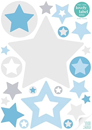 Kinderzimmer sterne blau  lovely label Wandsticker selbstklebend STERNE GRAU/BLAU ...