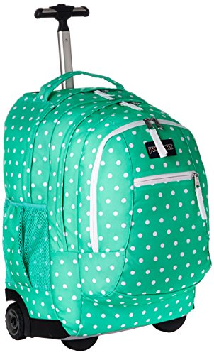 Green Wheeled Backpacks (JanSport Unisex Driver 8 Wheeled Seafoam Green/White Dots Backpack)