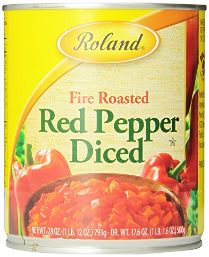 Roland Fire Roasted Peppers, Red Diced, 28 Ounce (Pack of 4)