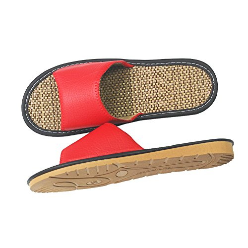 Summer HRFEER House Women for Beach Slippers 2 Silent Sandals Shoes Red Women Indoor Linen Slipper Men wg7rwdq
