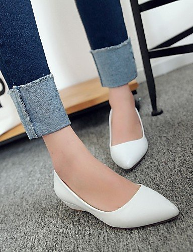Comoda pelle ShangYi Casual Bianco punta A Mocassini gyht Donna Nero Formale Rosa Scarpe Zeppa White Finta Verde RRwgqYP1