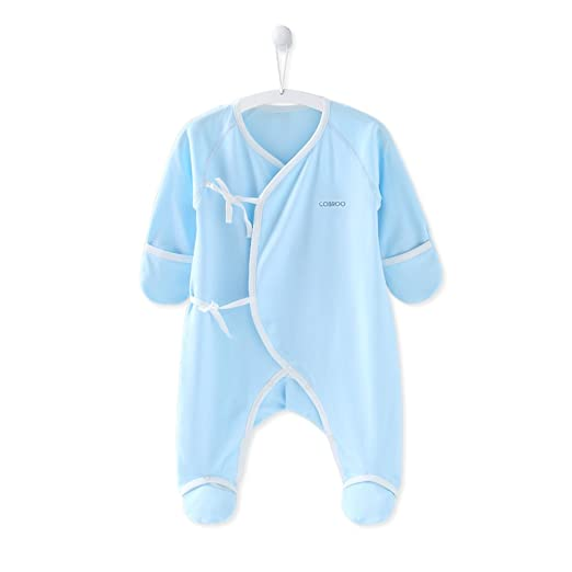 COBROO Newborn Baby Boy Clothes 0-3 Month Baby Footies 100% Cotton Spring Infant