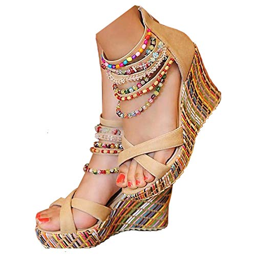 getmorebeauty Women's Wedge Pearls Across The Top Platform High Heels 7 B(M) US Beige